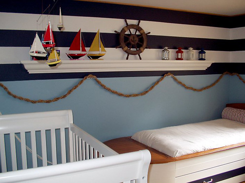 blue and white stripes nautical style kids bedroom