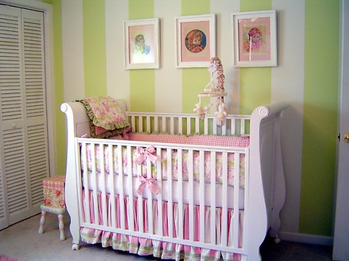 green pink and white girls nursery