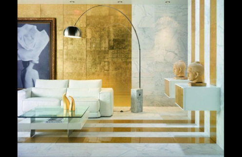 white, turquoise and gold tiles modern minimalistic living room