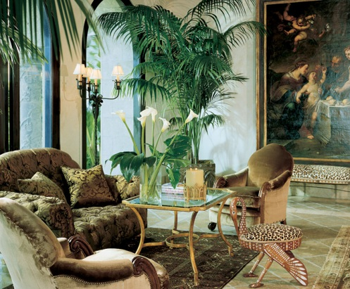safari palm jungle themed living room lounge