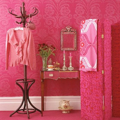 hot pink and white hall hallway entry