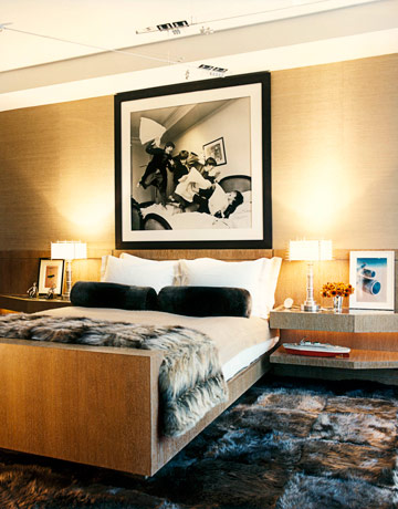 beige black white posh classy bedroom fur carpet