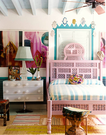 white turquoise pink funky modern bedroom pink bed