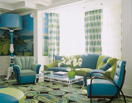 blue green funky modern living room