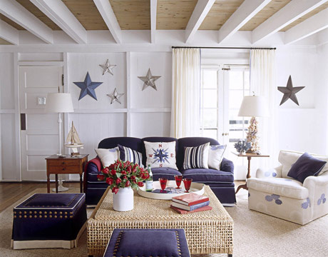blue and white nautical living room stars compass