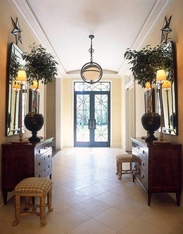 beige white dark wood classy posh hall entry foyer, posh lamp chandelier