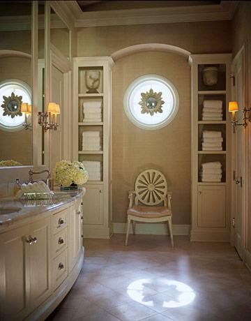 beige and white posh classy bathroom round star window