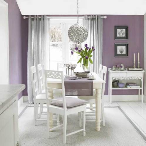 lilac and white dining room modern with sphere cjandelier