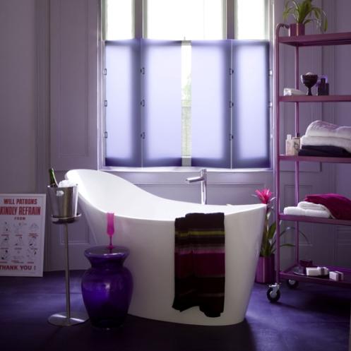 lilac and white modern bathroom free standing white bath tub