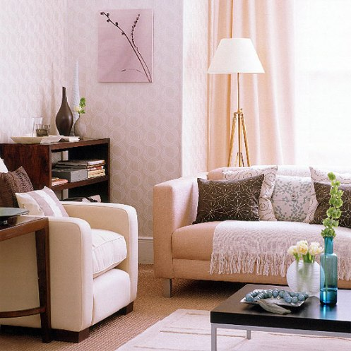 soft color scheme classic modern living room pink, lilac peach pattern