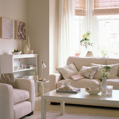 soft color scheme white and pink living room