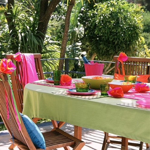pink green yellow varanda dining