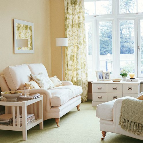 yellow beige white soft color living room lounge