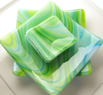 blue green yellow swirly pattern plates by lauren urban