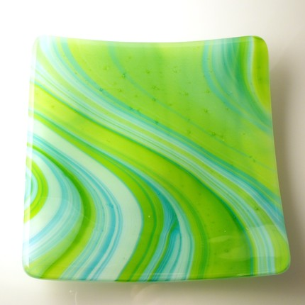 blue green yellow art sushi plates