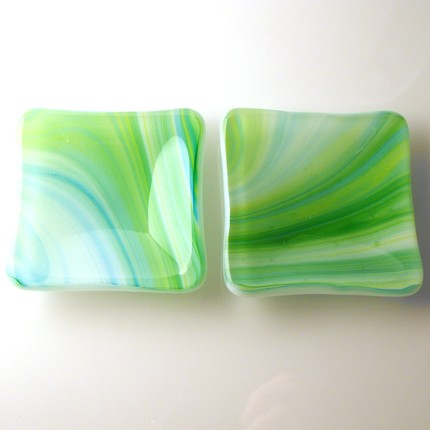 blue green yellow sushi plates