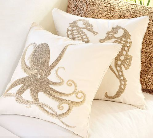 beige and white beachy cushions pillows octopus and sea horse