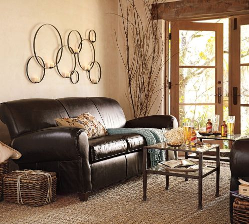 circles wall decor beige living room black sofa