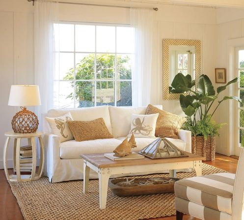 beige and white beachy living room