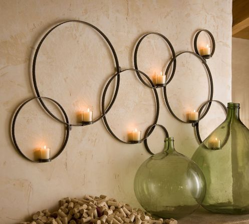 multiple circle candle wall decor