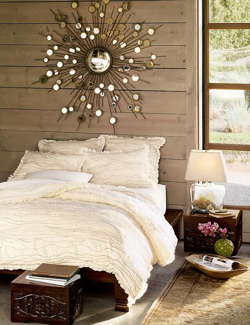 sun mirror in bedroom