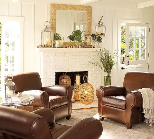 white and brown coastal beachy style living room