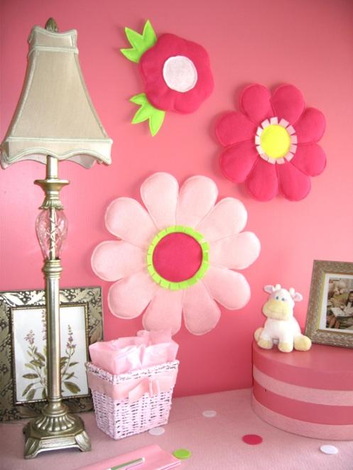 pink kids room girl room felt decor flowers