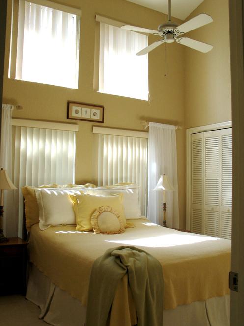 beige and white coastal home bedroom