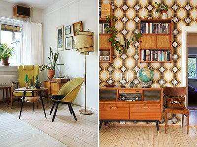retro brown interior living room and hall