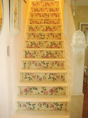 white stairs with rose paint romantic country stairway