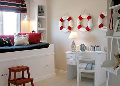 kids bedroom red white and blue nautical style