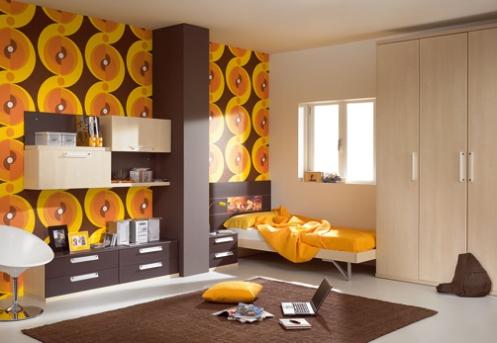 orange yellow and brown retro wallpaper 70's kids room
