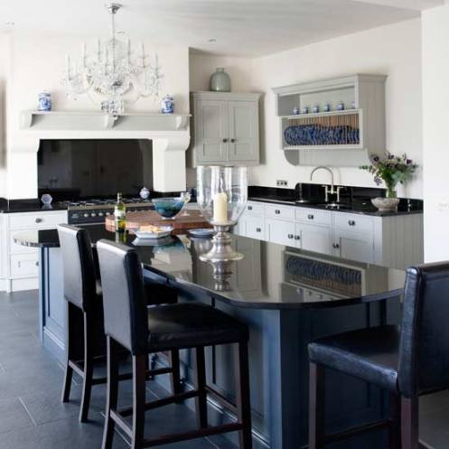 black and white modern kitchen white chandelier