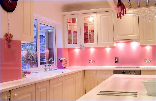 pink and white modern kitchen