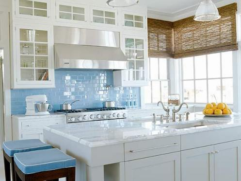 blue white romantic country Kitchen