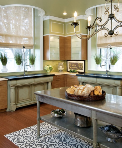 soft olive green classic modern kitchen natural look