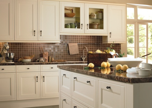 romantic country style white and tan brown kitchen