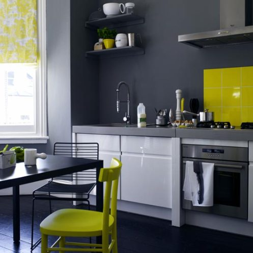 charcoal and yellow kitchen