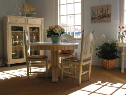 lavender lilac romantic country or beachy dining area