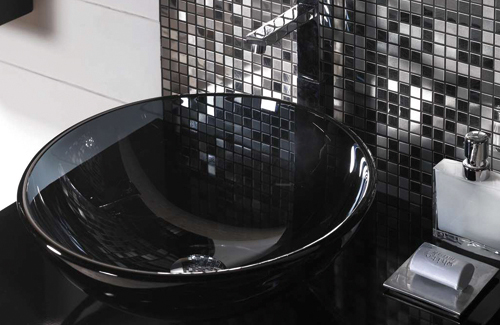 Exotic Silver Tile Bathroom With Black Combination Part 84
