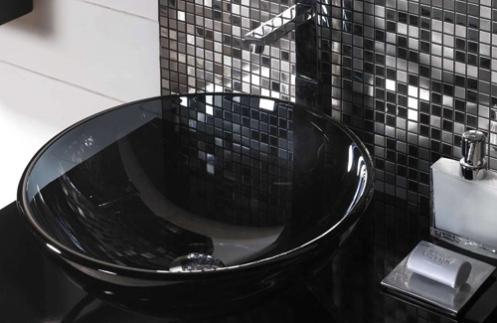 black and silver tiles disco bathroom