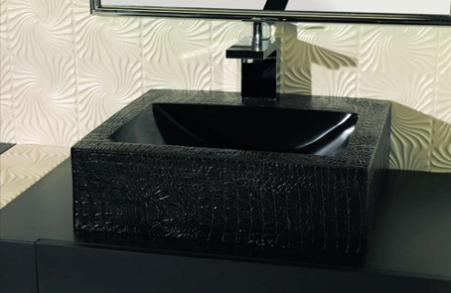 cream tile bathroom with black sink