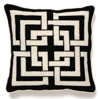 black and white pillow chinese lattice