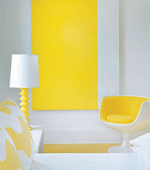 white and yellow nook lisa perry retro modern minimalistic