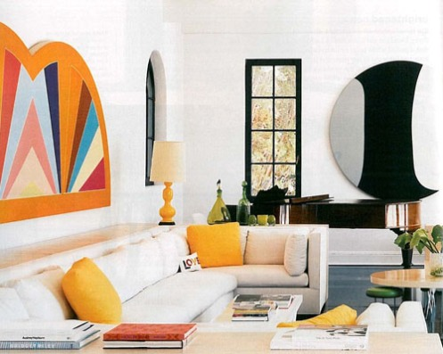 minimalistic white yellow black living room lisa perry