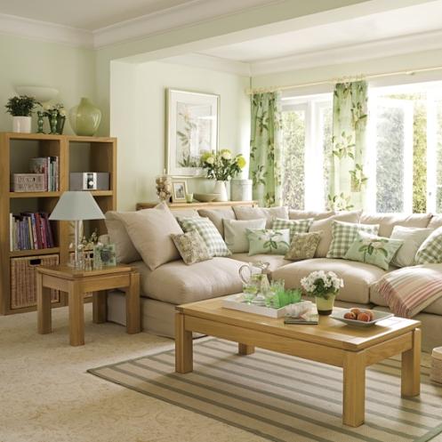 mint green soft beige living room sofa pillows