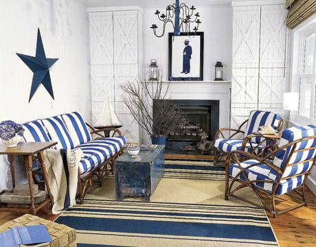 nautical interior blue and white livingroom stripes