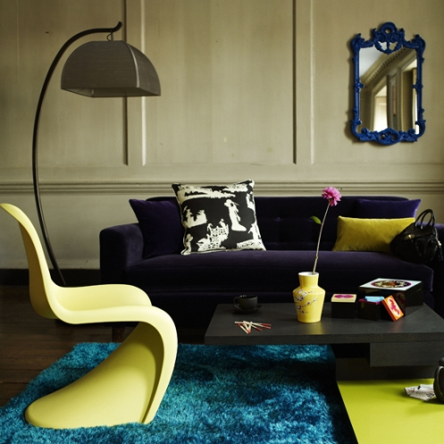 retro modern living room beige blue yellow