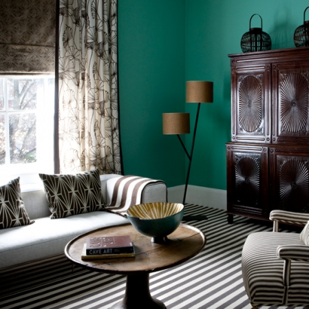 retro modern home, brown and blue green and white, stripes