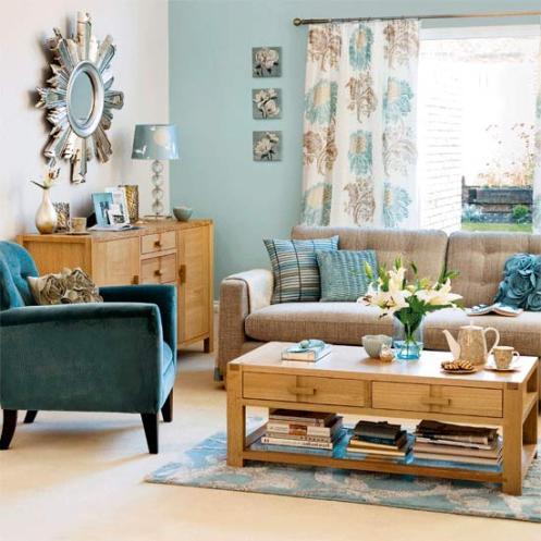 modern livingroom with round sun mirror